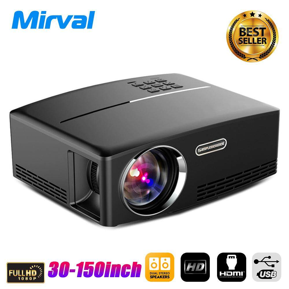 Mirval GP80 2019 New LED Mini Portable Projector 1800 Lumens Support HDMI USB VGA TFcard For