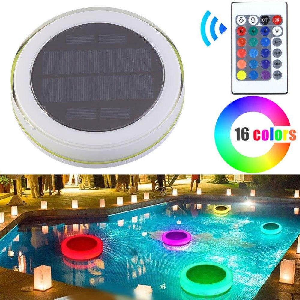 Outdoor 24-LED RGB Waterproof Solar Light with IR Remote Controller 16 Colors Changing LED Floating Lights Path Landscape Lamp for Aquarium, Pond, Swimming Pool, Garden, Party Decor