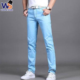 WS กางเกงขายาวผู้ชาย กางเกงเอวกลางทรงขาตรง กางเกงลำลองทรงเข้ารูป