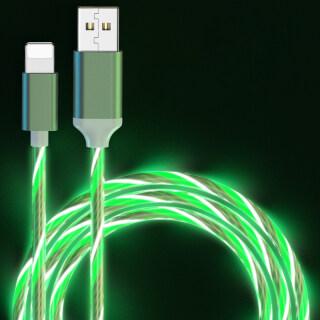 Cáp Sạc Điện Thoại Di Động USB Type C Flow Ánh Sáng Dạ Quang Dây Dữ Liệu Dành Cho Samsung Huawei Dây Sạc Nhanh Apple Kable Micro LED 1