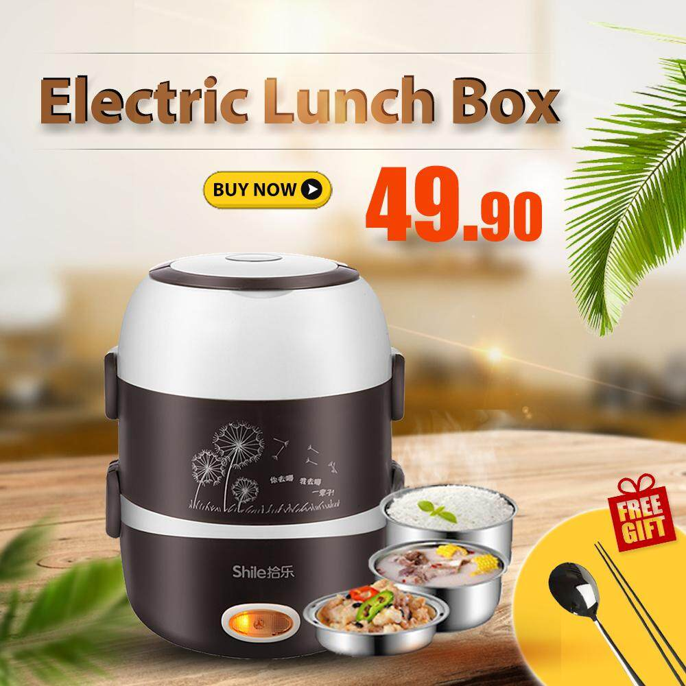 [malaysia Set] 3 Layer Stainless Steel Electric Lunch Box - Rice Warmer (free Chopstick + Spoon Sets) By Volt Gadget.
