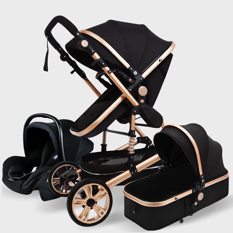 High Landscape Baby Stroller 3 In 1 Hot Mom Pink Stroller Luxury Travel Pram Carriage Basket Baby Car Seat And Stroller Singapore