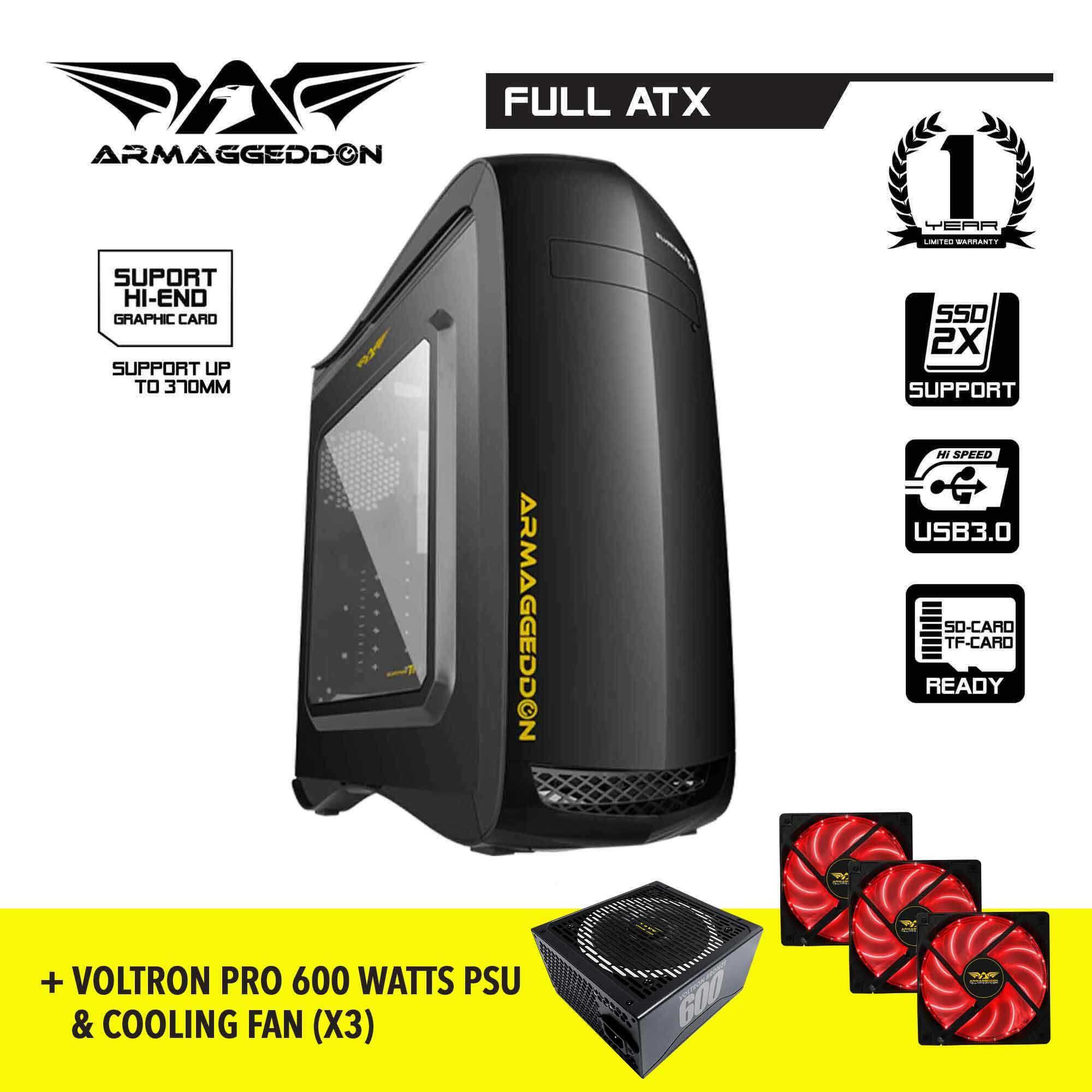Armaggeddon T11 ATX Gaming PC Case and Voltron Gold 800 PSU / Voltron Bronze 600 PSU Free Cooling Fan (Bundle Promo) Malaysia