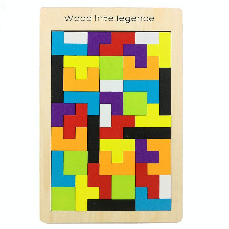 Wooden Tetris Brick Toy Educational Game Toy Wooden Puzzle Tangram Jigsaw Bricks Toy Christmas Gift For Kids By Electrical Business Center.