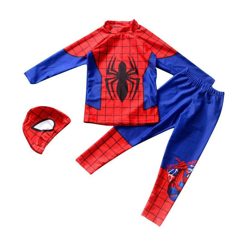 16c73bee81 Kids Swimwear 3 Pieces set Children Swimsuit Spider Man Swimming suit Boys  Beachwear Baby Sunscreen Quick