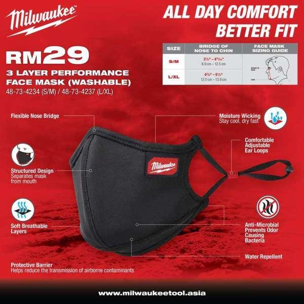 Milwaukee 3 Layer Performance Face Mask ( Washable )