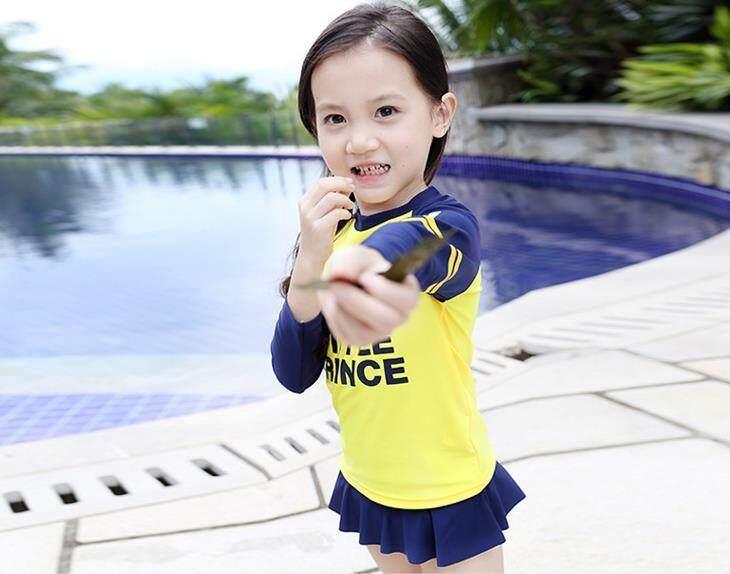 e1dbbf353f Korean Style Kids Fashion Boy Girl Swimming Suit Muslim Swimwear Long Sleeve  Tops + Long Pants