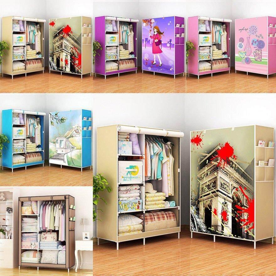 ANEXT Simple Wardrobe Storage Closet Hanging Wardrobe Reinforcement Combination