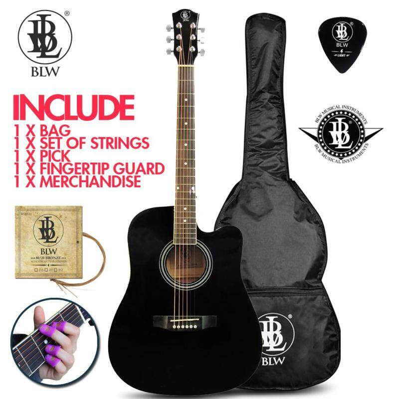 BLW 41 Inch Standard Dreadnaught Model Acoustic Guitar for Beginners Rosewood fingerboard SD410 Comes with Bag, String Set, Fingertip Guard, Pick and Merchandise Sticker  (Black) Malaysia