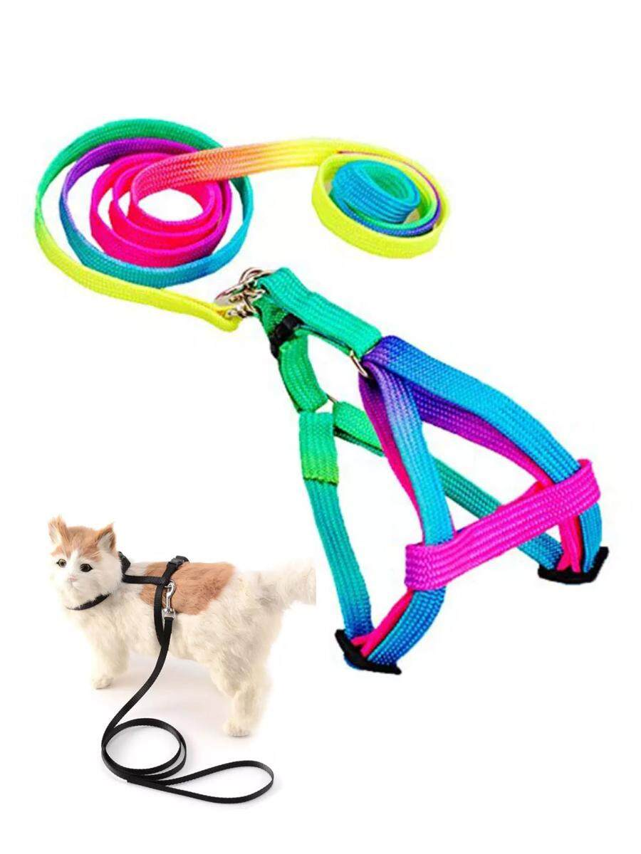 1pcs Adjustable Breakaway Rainbow Nylon Small Rabbit Cat Collar Leash Breast-Band Dog Lead Harness Set Goods For Pets By Razaza Life Store.