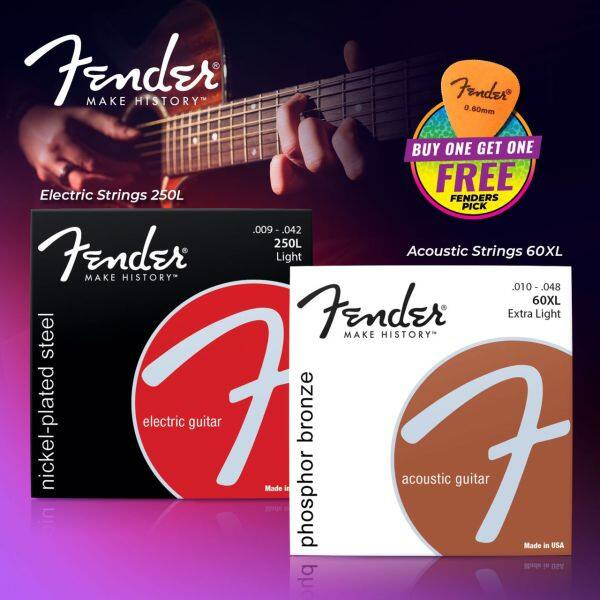 [Promotion] Fender Guitar Strings Acoustic/Electric String Tali Gitar Akustik/Elektrik Fender Strings Gibson Strings Malaysia