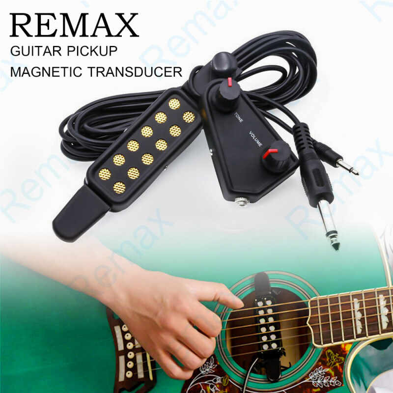 REMAX 12-hole Sound Hole Pickup Magnetic Transducer with Tone Volume Controller Audio Cable for Acoustic Guitar Acoustic Electronic Sensor for Acoustic Guitar [In Stock & Shipping ] Malaysia
