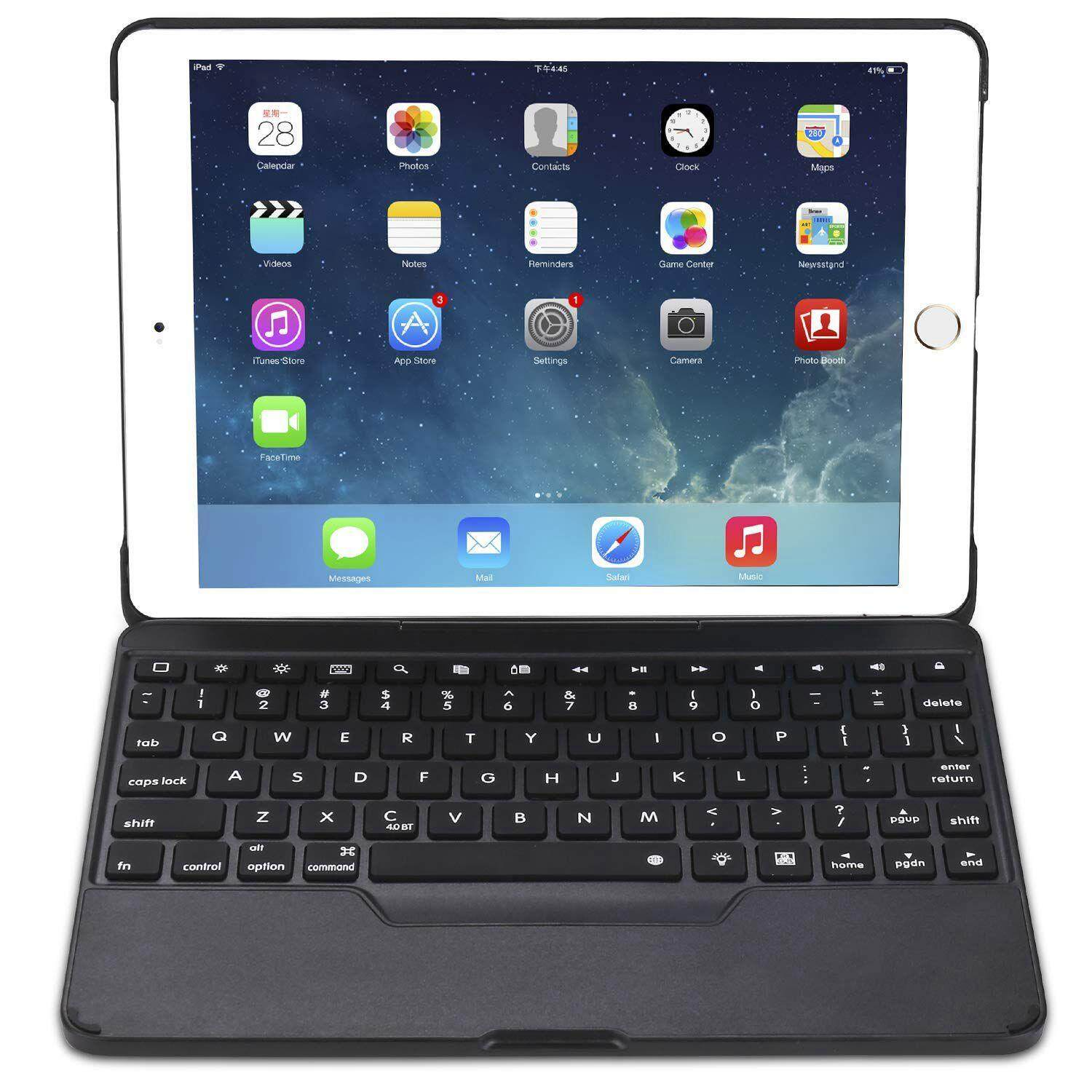 for iPad 9.7 Case with Keyboard [Detachable] for iPad Fully Protective Smart Cover, Wireless Bluetooth Keyboard [Backlit] (Black) Malaysia