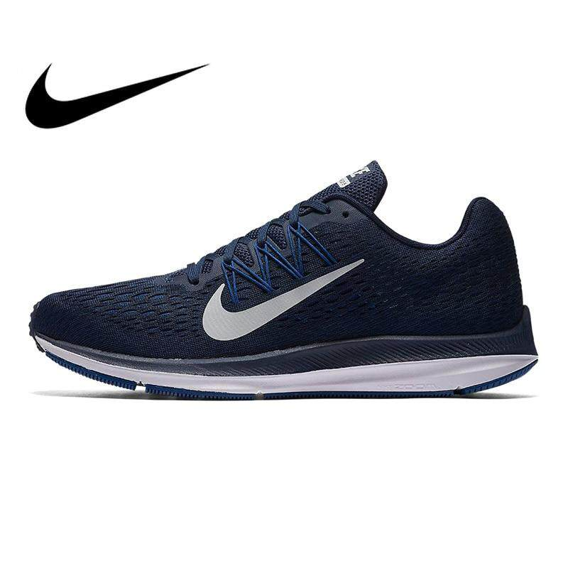 7d981bb610 Authentic Nike Zoom Winflo 5 Men Running Shoes Sneakers Shoes Navy Blue  Breathable Non-slip