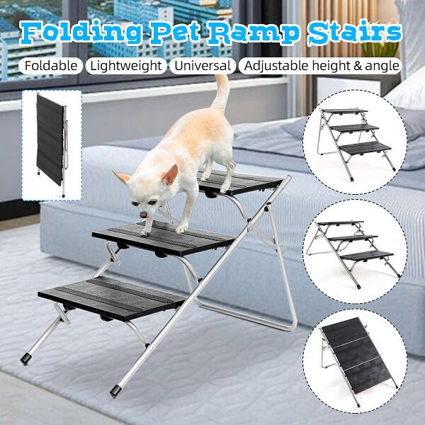 Cầu Thang Thú Cưng Thang Kim Loại Di Động Gấp Được, Cầu Thang Dốc 3 Bậc Cho Chó Mèo