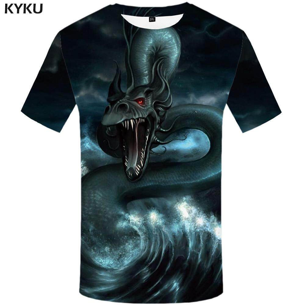 4177a4e3ba0f3 Funny T shirts Dragon T-shirt Men Wave T-shirts 3d Animal Tshirts Casual