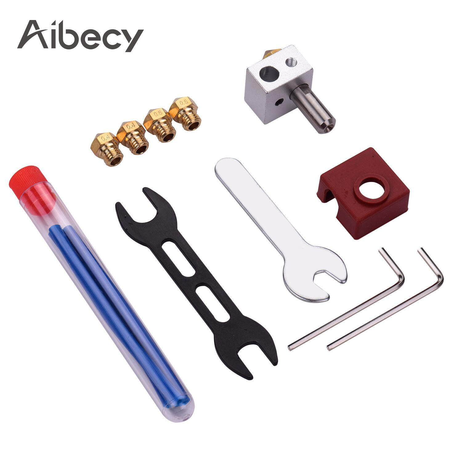Aibecy MK10 Hotend Kit Extruder Set with Heat Block Brass Nozzle Throat Tube PTFE Tube Silicone Sock Compatible with FlashForge Creator Pro Creator X Dreamer Finder Inventor