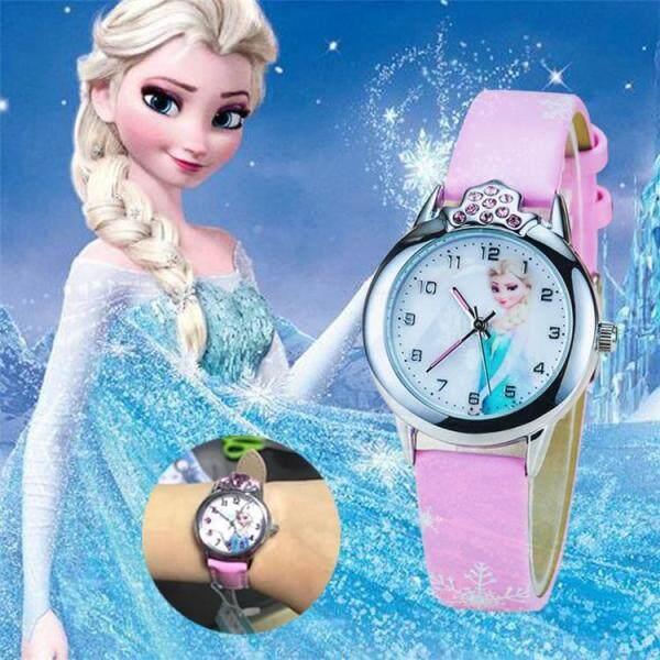 Frozen Watch Kids Princess Elsa Cartoon Watches Children Girls Gifts Coloring Fashion Leather Quartz Wrist Watches Clock Malaysia