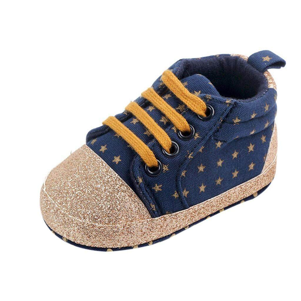 9376b909abe8 Rayeshop Newborn Baby Toddler Star Print Canvas First Walkers Soft Sole  Casual Shoes Reference size