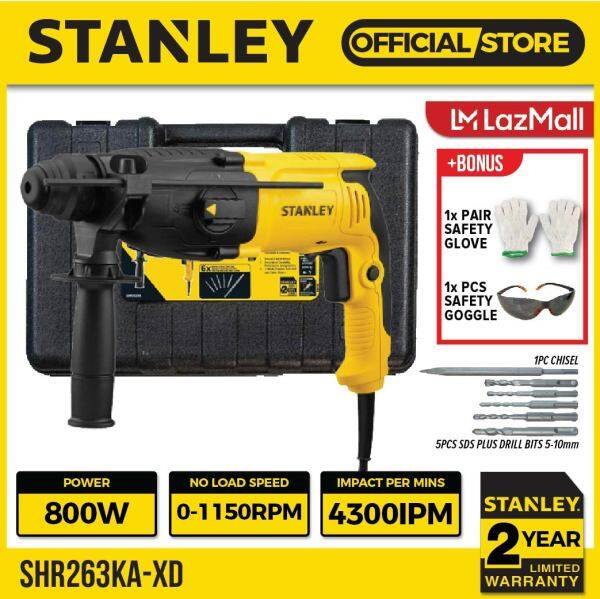 STANLEY SHR263KA CORDED ROTARY HAMMER DRILL COME WITH BITS 800W   3-MODES   SDS PLUS