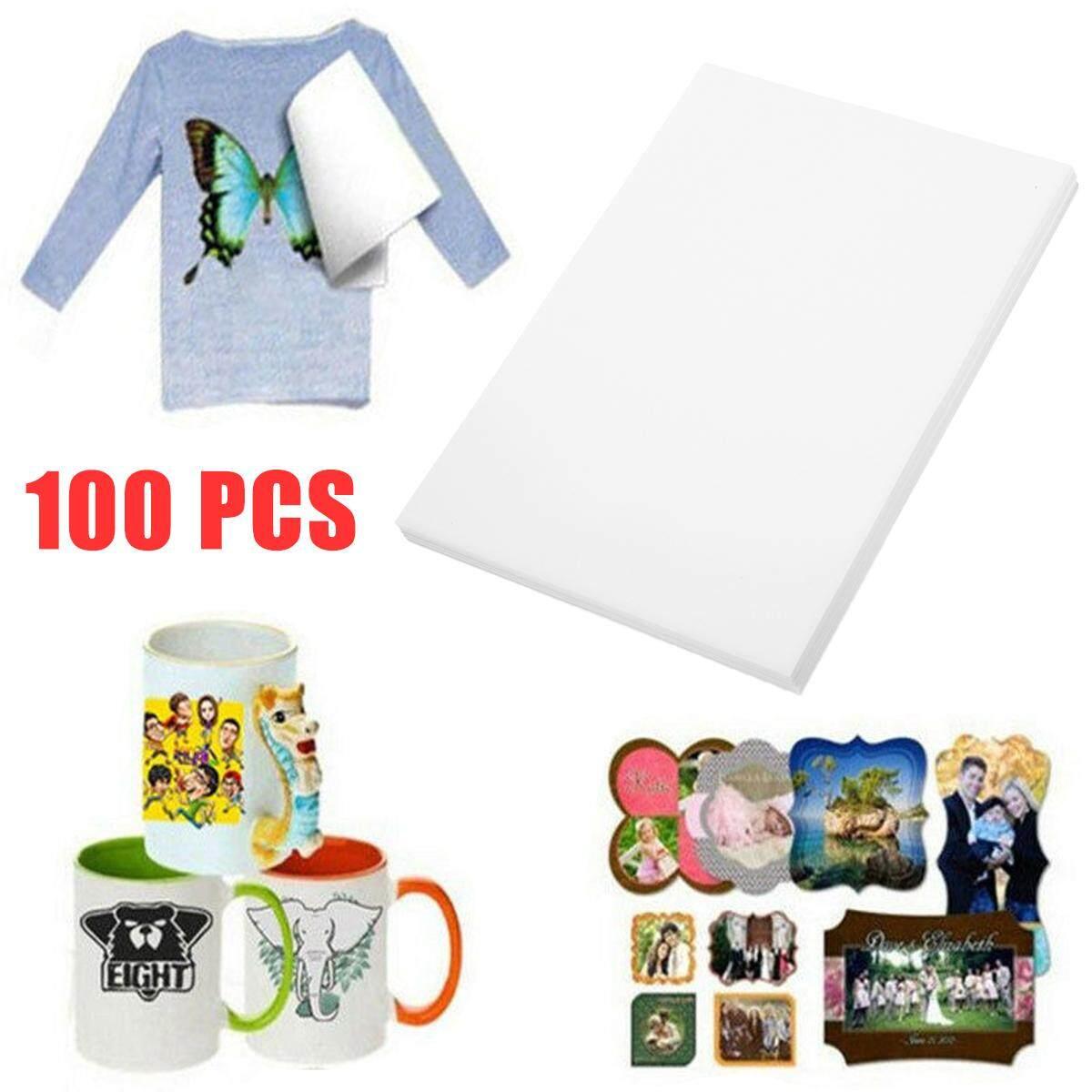 100Pcs White A4 Heat Transfer Iron T On For shirt Fabric Inkjet Paper Light