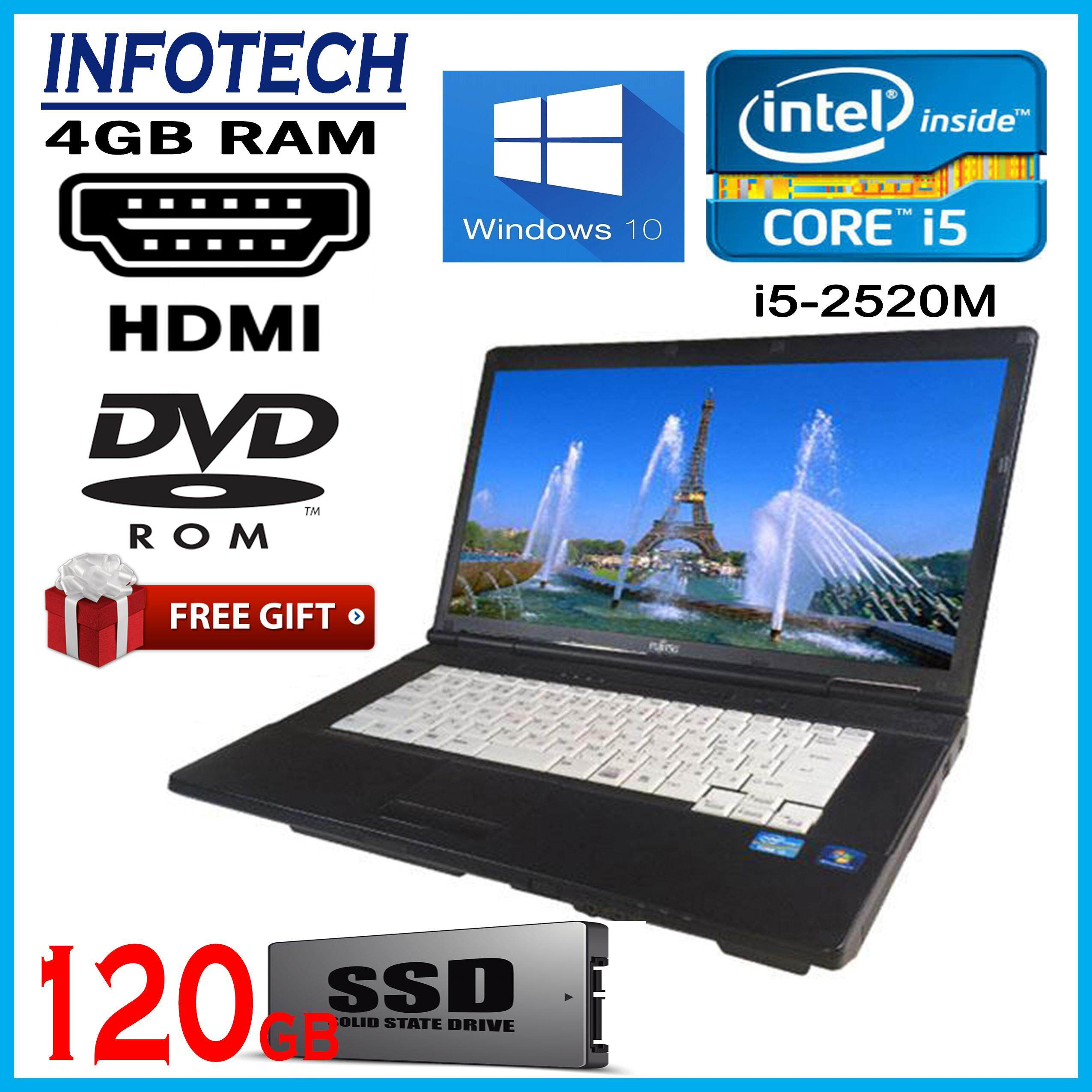 Fujitsu A561 intel core i5 2520M 3.2ghz , 4GB DDR3 , 120gb SSD , W7PRO , 15.6 with HDMI WIFI DVD laptop notebook Lifebook (refurbished) Malaysia