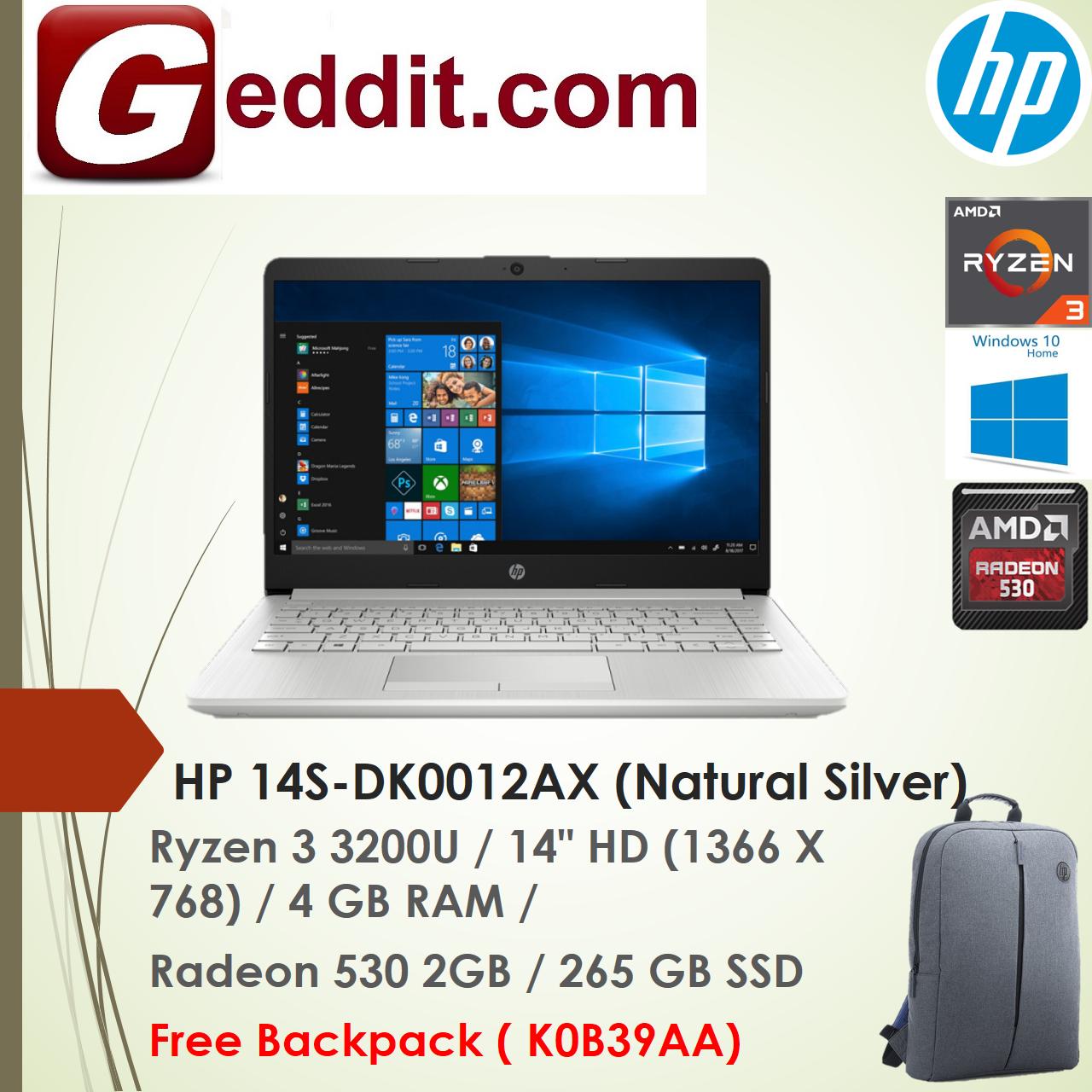 HP ESSENTIAL 14S-DK0012AX / 14S-DK0013AX LAPTOP (RYZEN 3 3200U,4GB,256GB SSD,RADEON 530 2GB,14 HD,WIN10) FREE BACKPACK Malaysia