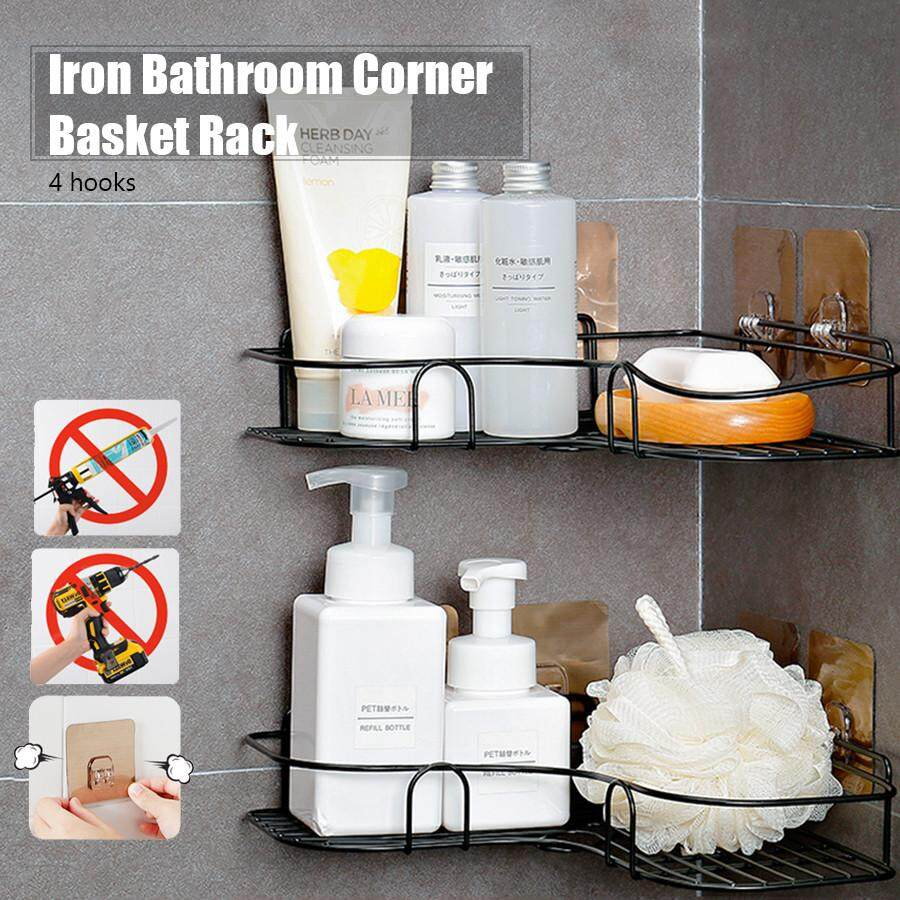 Iron Corner Basket Kitchen Bathroom Storage Shelf Shower Rack Wall Holder Organizer By East Ear Living House.