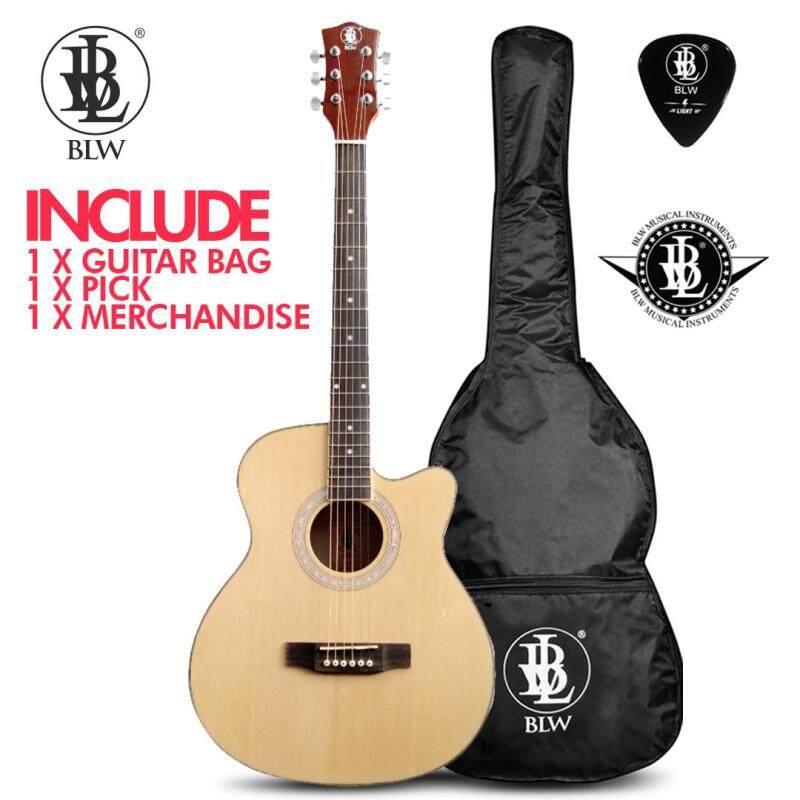 BLW 40 Inch Spruce Top Mahogany Back and Side Orchestra Acoustic Guitar AS400-OG Package with Bag, pick and BLW Merchandise Sticker (Natural) Malaysia
