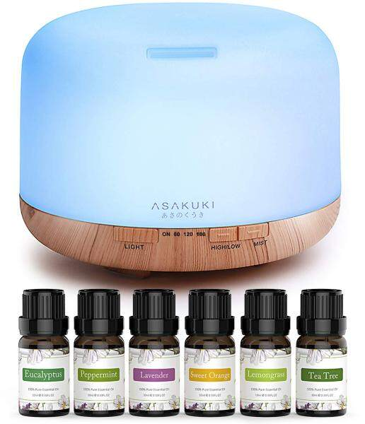 ASAKUKI Essential Oil Diffuser with Essential Oils Set, 500ml Aromatherapy Diffuser with Top 6 100% Pure Natural Essential Oils, 14 LED Colors and Auto Shut-Off Singapore