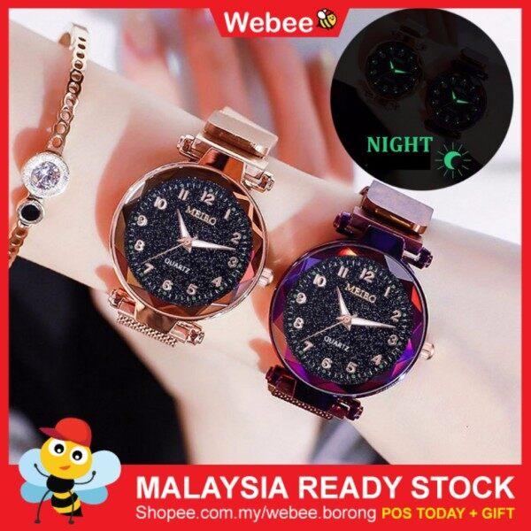 READY STOCK🎁WEBEE JT Meibo Magnetic Buckle Stainless Steel Watch Jam Tangan Wanita Watch Malaysia