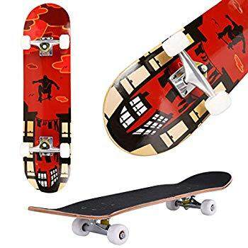 "Aceshin Skateboard, 31"" x 8"" Complete PRO Skateboard, 9 Layer Canadian Maple Wood Double Kick Tricks Skate Board Concave Design for Beginner,Gift for Kids Boys Girls Youths"