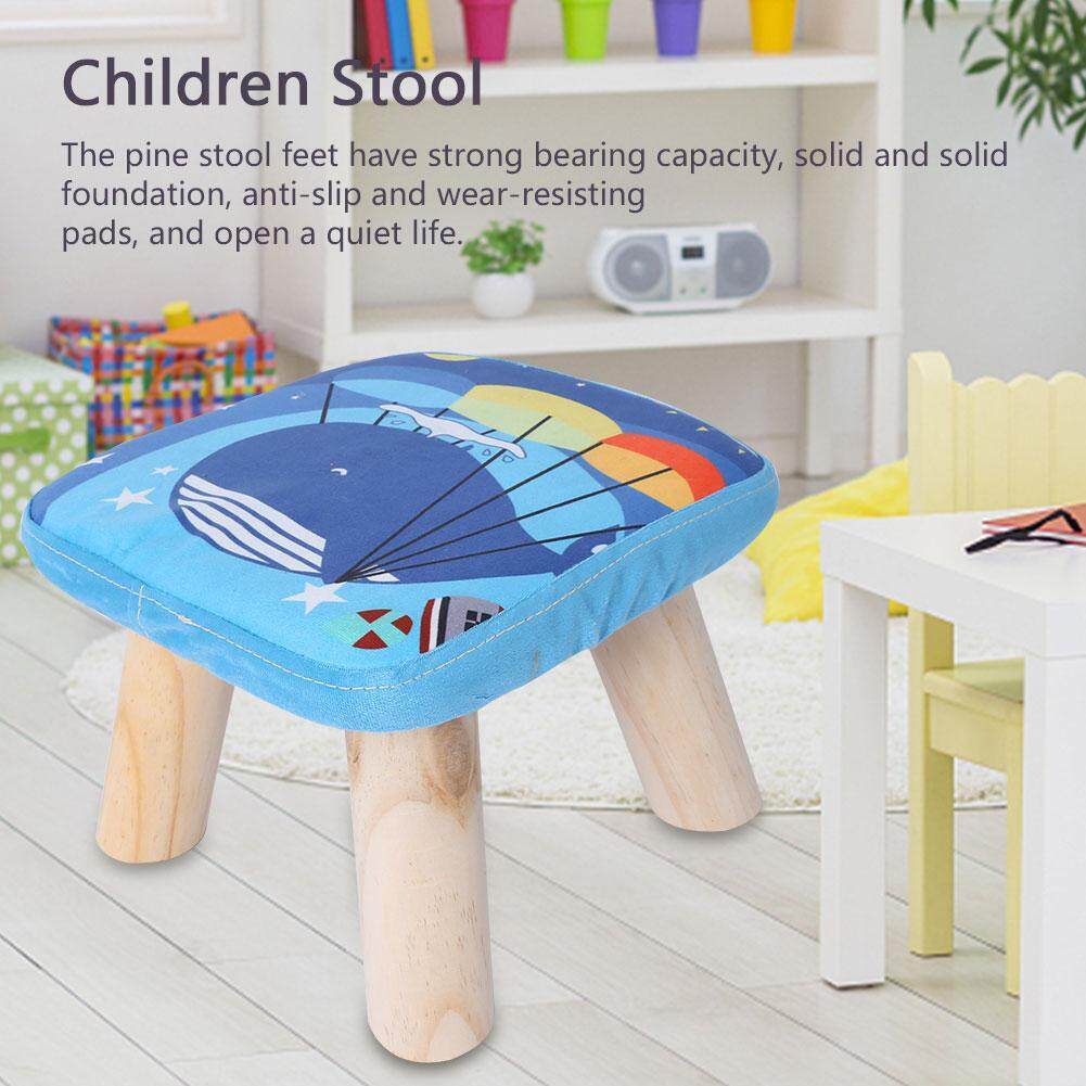 Home Living Room Small Deng Wooden Stool with Flannelette Fabric Mat for Children