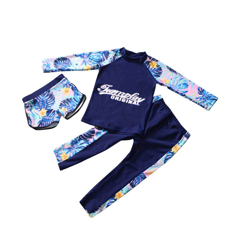 Giá bán HuaX Baby Boys Surfing Wetsuit Kids Quick Dry Sunscreen Long Sleeve Swimwear Shorts + Hats Children Clothing