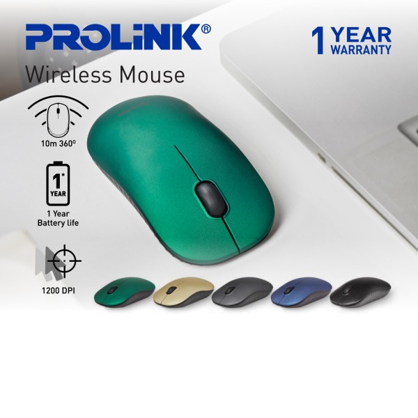 PROLiNK Wireless Optical Mouse 1200DPI Power Saving with On/Off Switch Free 1.5V AA Battery PMW5009 Malaysia