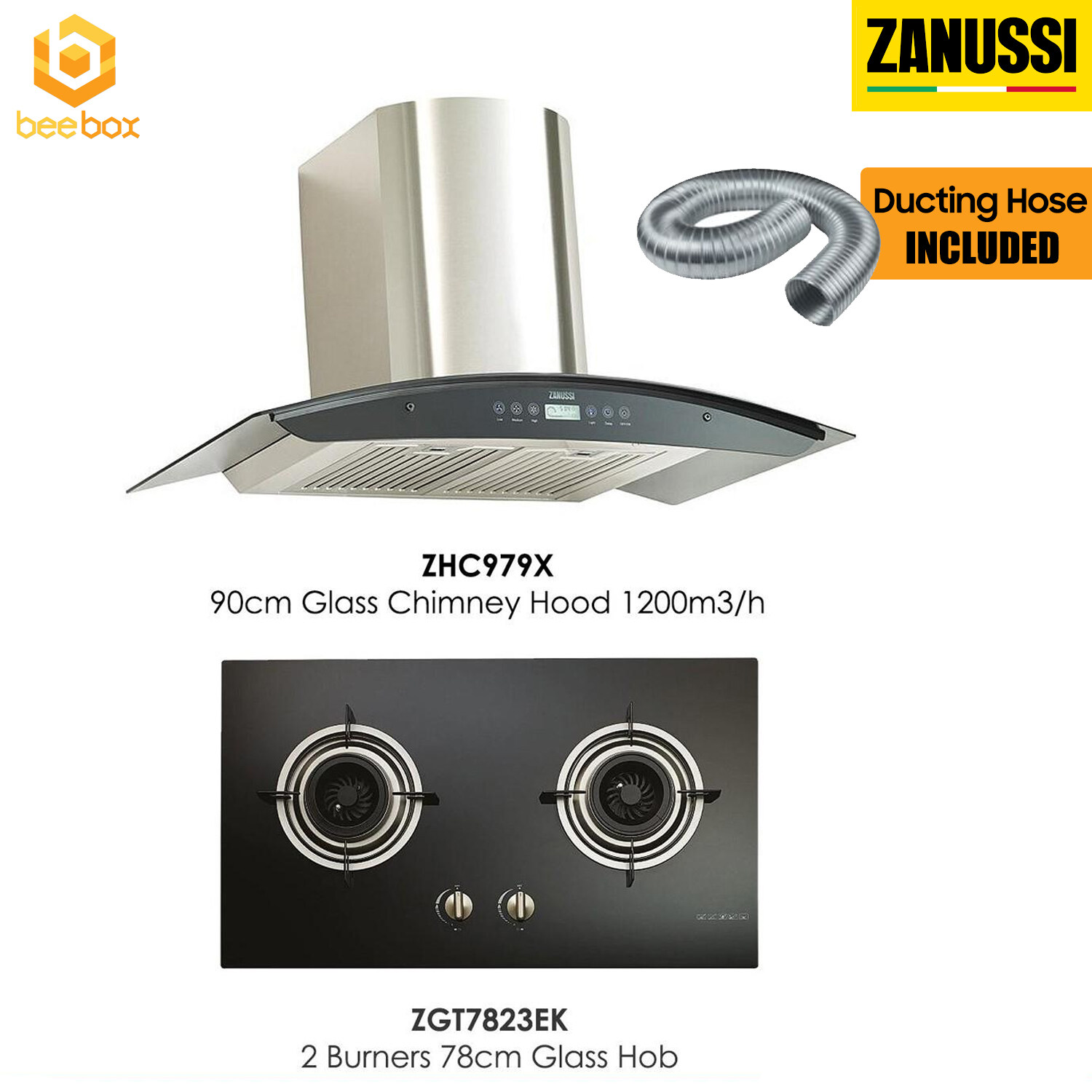 Zanussi 90cm Glass Chimney Hood ZHC979X + 78cm Built-In Hob 2 Burner ZGT7823EK (FREE DUCTING HOSE)