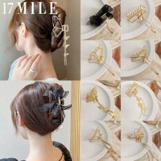 17MILE Kẹp Tóc Bướm Hình Học Màu Vàng Kim Cho Nữ Mới Kẹp Tóc Có Mặt Dây Chuyền Dài Cổ Điển Kẹp Tóc Kẹp Tóc Phụ Kiện Tóc Cua