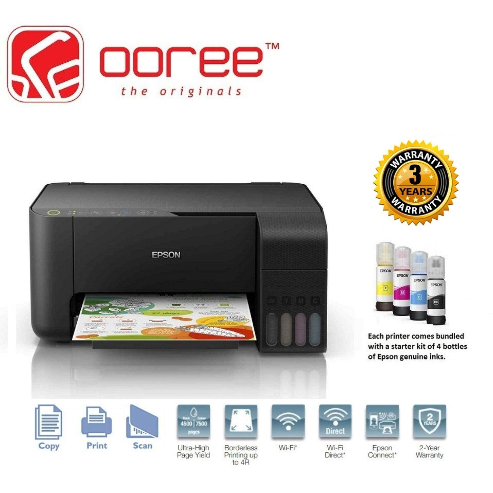 EPSON ECOTANK L3150 4 IN 1 PRINT SCAN COPY WIFI REFILLABLE INK TANK  PRINTER, ALL IN ONE MULTI FUNCTION COLOUR PRINTER, ANTI UV INK, WITH 1 SET
