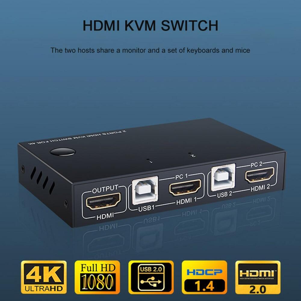 Chuột Chia Sẻ Bàn Phím Cho 2 Chiếc Hộp Chuyển Đổi KVM HDMI 2 Cổng Cho Máy In Gia Đình Công Tắc USB Hiển Thị Video 4K Hộp Chia KVM