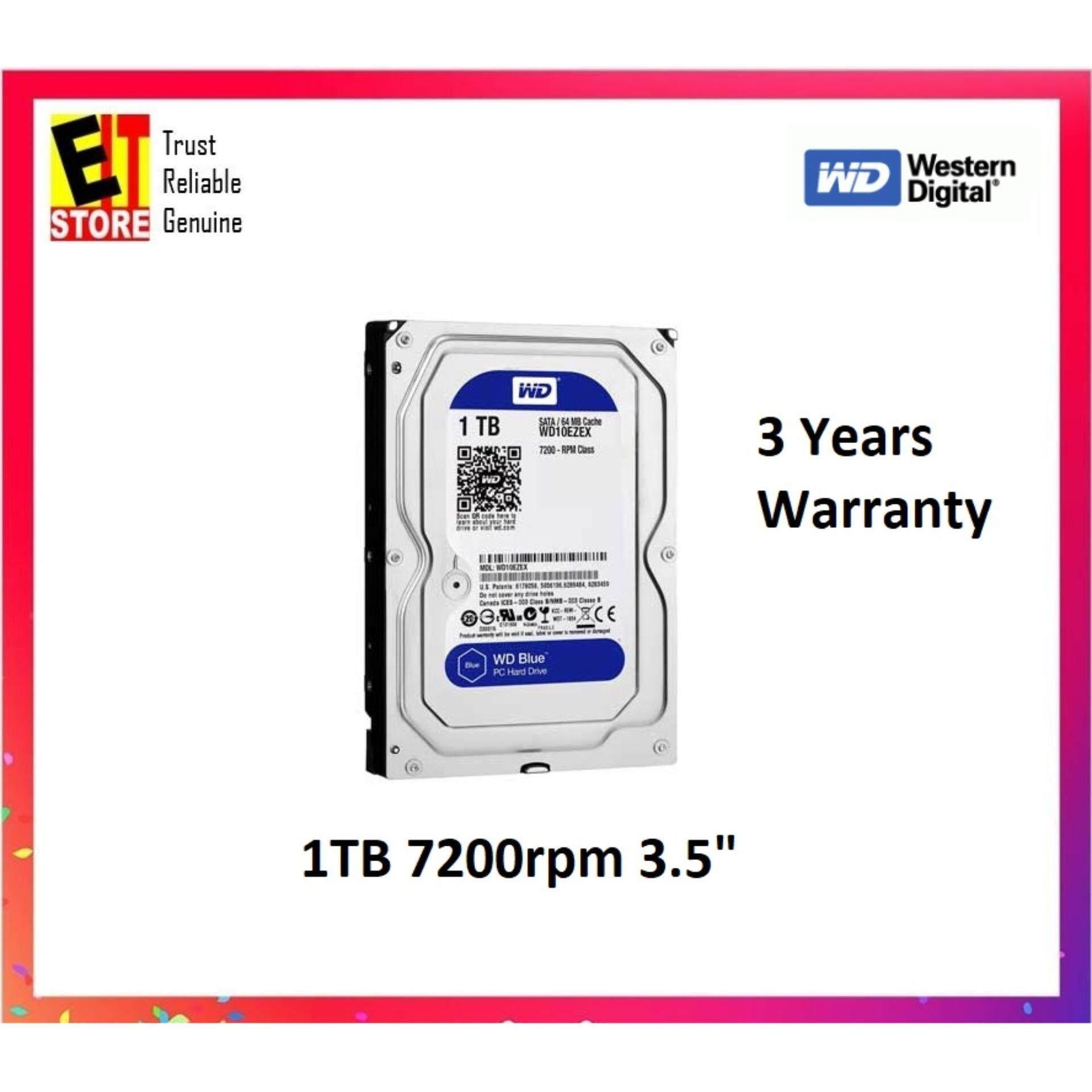 """WESTERN DIGITAL DESKTOP 3.5"""" 1TB SATA HDD CAVIAR BLUE (WD10EZEX)"""