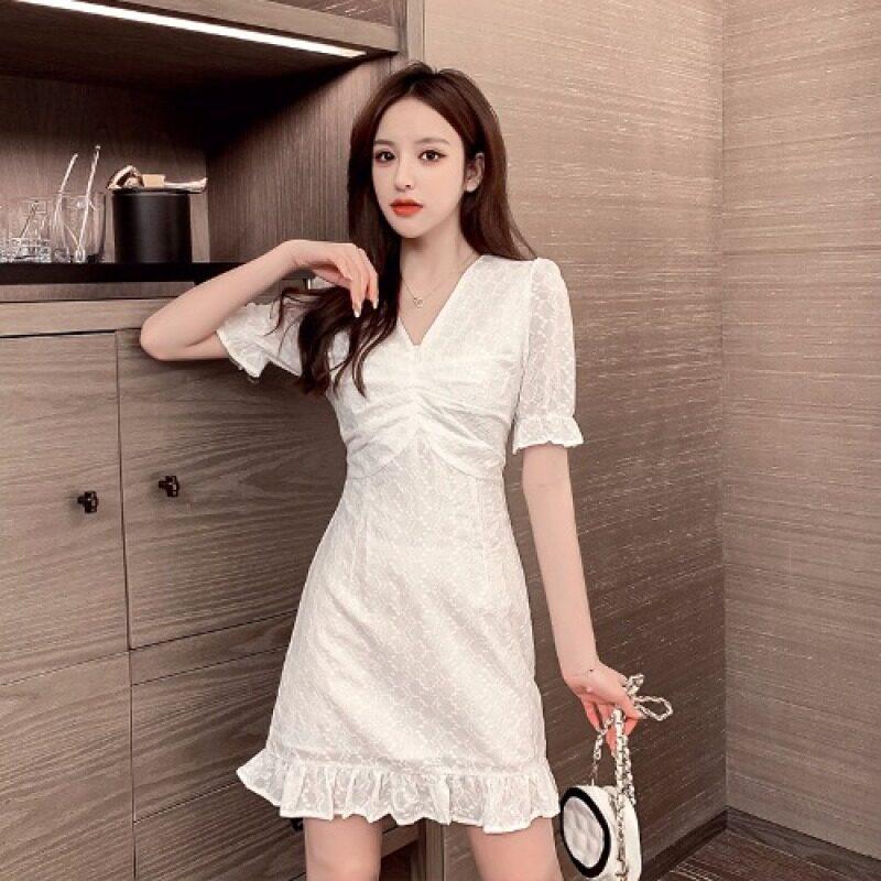 2021 Mùa Xuân Năm Mẫu Mới Viền Lá Sen Đuôi Cá Từ Một Chiếc Váy Ngắn Kiểu Pháp Tôn Dáng Bó Eo Cổ Chữ V Khí Chất Đầm Nữ
