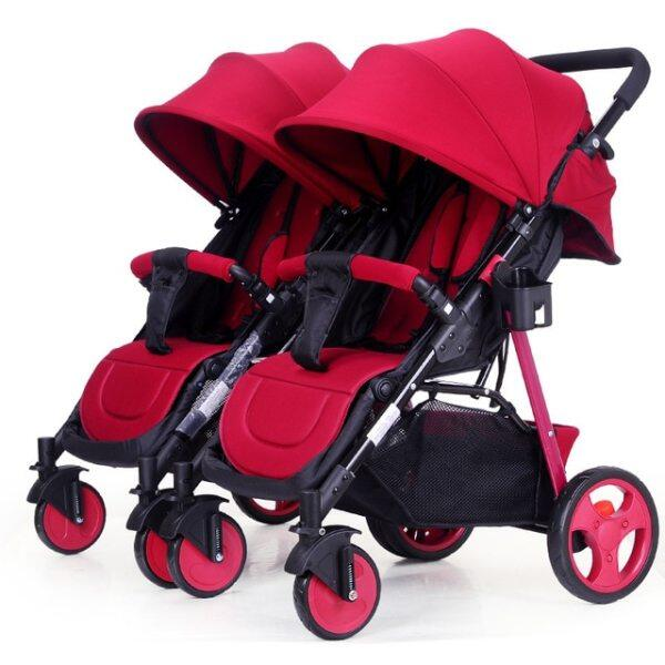 Twins Baby Stroller 2 In 1 Umbrella Multiple Stroller Baby Cart Can Be Divided  Can Sit Flat Lying Double Baby Stroller 0-3Y Singapore