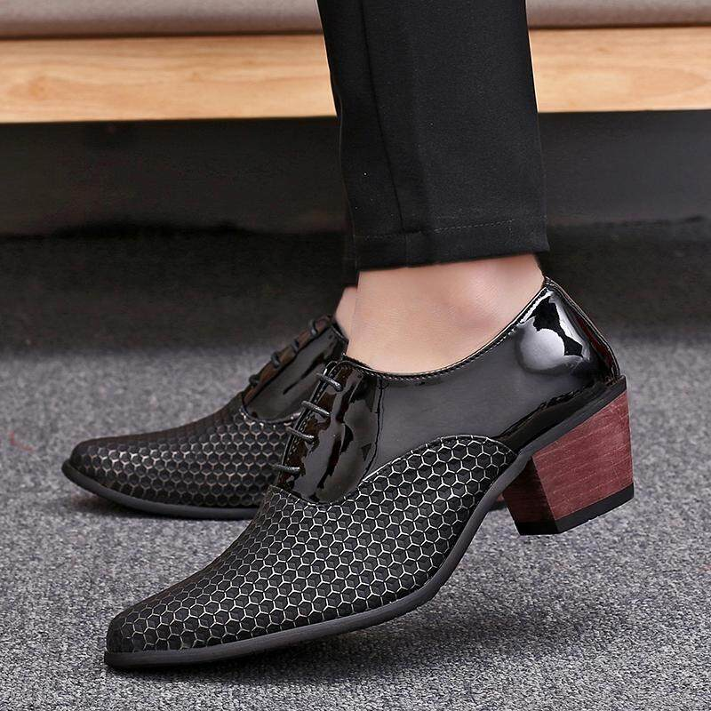 New and Fashion Men s Pointed Toe Formal Business Leather Shoes Height  Inrease High Heel Leather Shoes 36975294919a