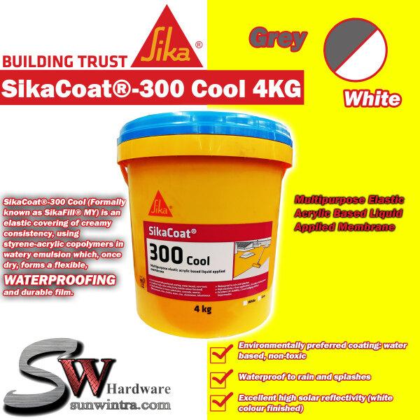 SIKA SikaCoat®-300 Cool 4KG Multipurpose Elastic Acrylic Based Liquid Applied Membrane GREY/WHITE