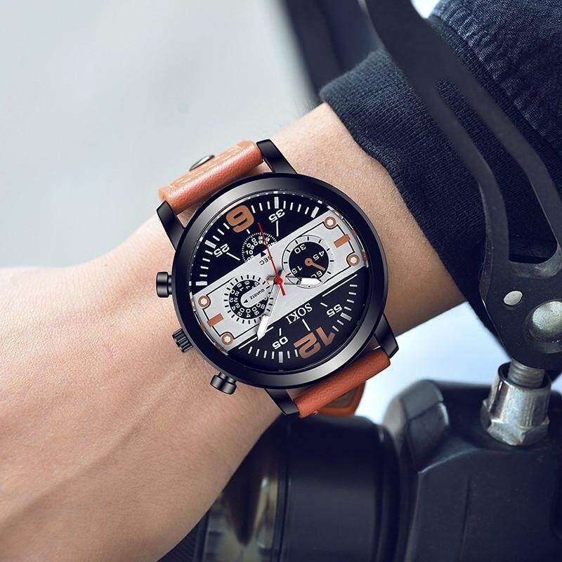Elechome SOKI S1038 Top Brand Mens Business Sports Watches Student Quartz Watch Fashion Elegant Analog Three Eyes Wristwatch Malaysia