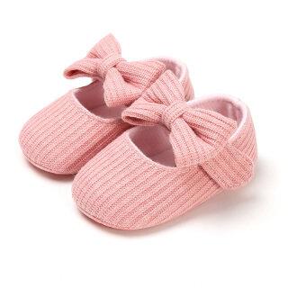 Giày Bé Gái Có Nơ Dễ Thương Giày Sơ Sinh Dệt Kim Cotton Đế Mềm Chống Trượt Trẻ Sơ Sinh Tập Đi thumbnail