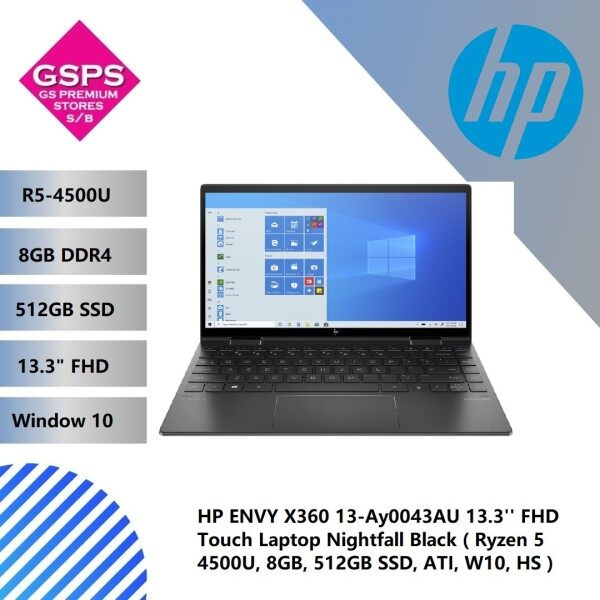 HP ENVY X360 13-Ay0043AU 13.3 FHD Touch Laptop Nightfall Black ( Ryzen 5 4500U, 8GB, 512GB SSD, ATI, W10, HS ) Malaysia