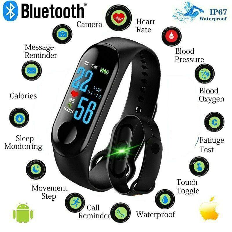 Bounabay M3 watch for man Smart Watch Monitor Color Screen watch for women Fitness Tracker Blood Pressure jam tangan wanita jam tangan lelaki Malaysia