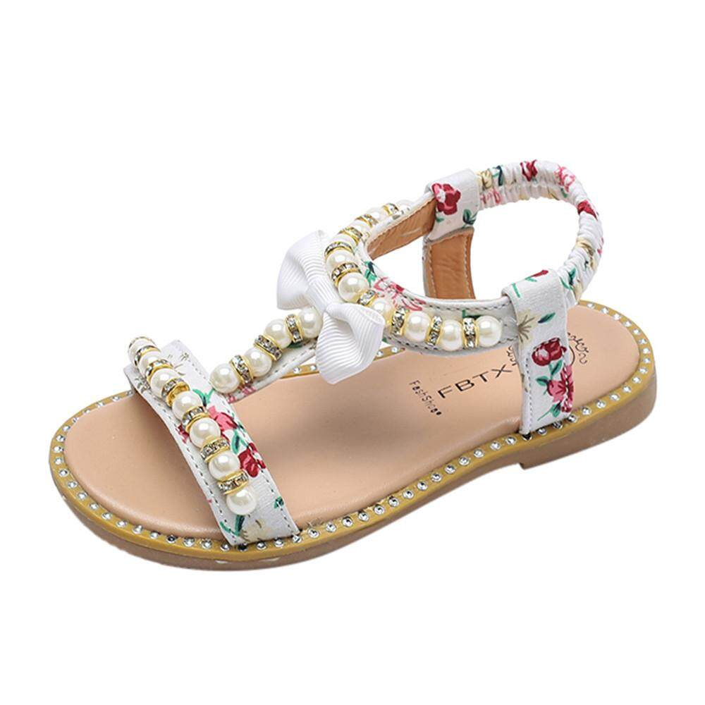 6dbe9ee96cfc Hatchshop Kids Baby Girls Sandals Bowknot Pearl Crystal Roman Sandals  Princess Shoes