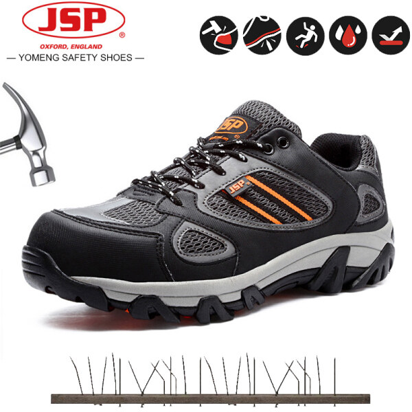 Safety Shoes JSP Mens Mesh Cloth Work Shoes Anti-smashing, Anti-puncture, Non-slip Steel Toe Cap Safety Work Shoes